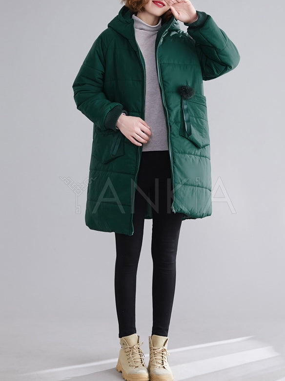 Solid Color Hooded Cotton Coat