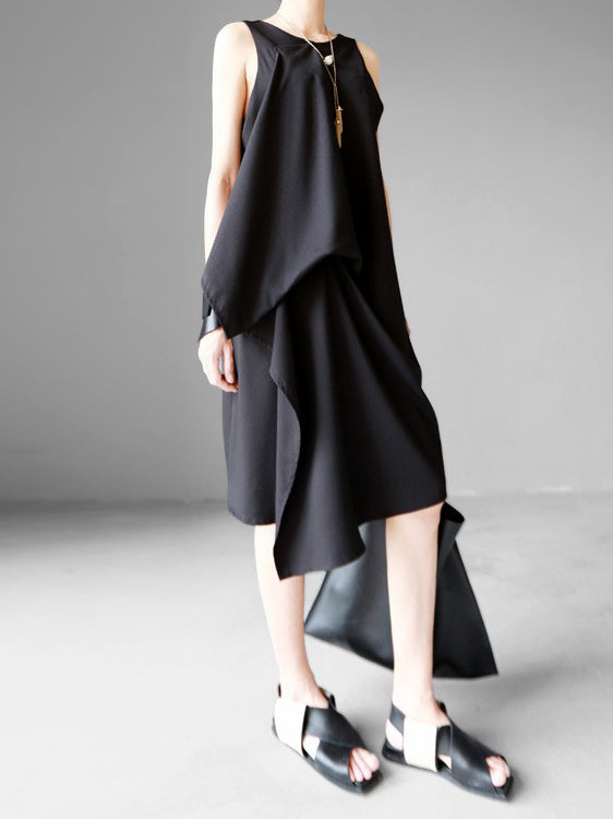 Original Asymmetric Design Tiered Sleeveless Dress