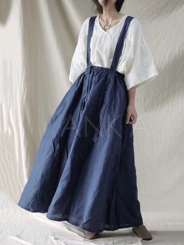 Loose Jean Suspender Skirt