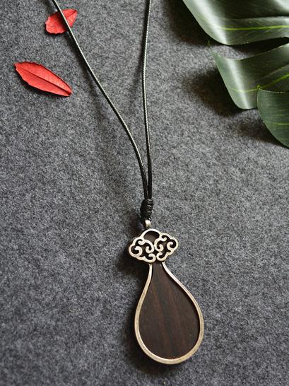 Drop Pendant Black Wood Necklace