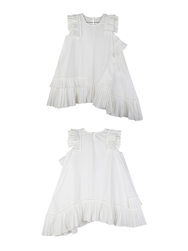 Asymmetric Ruffled Solid Dress