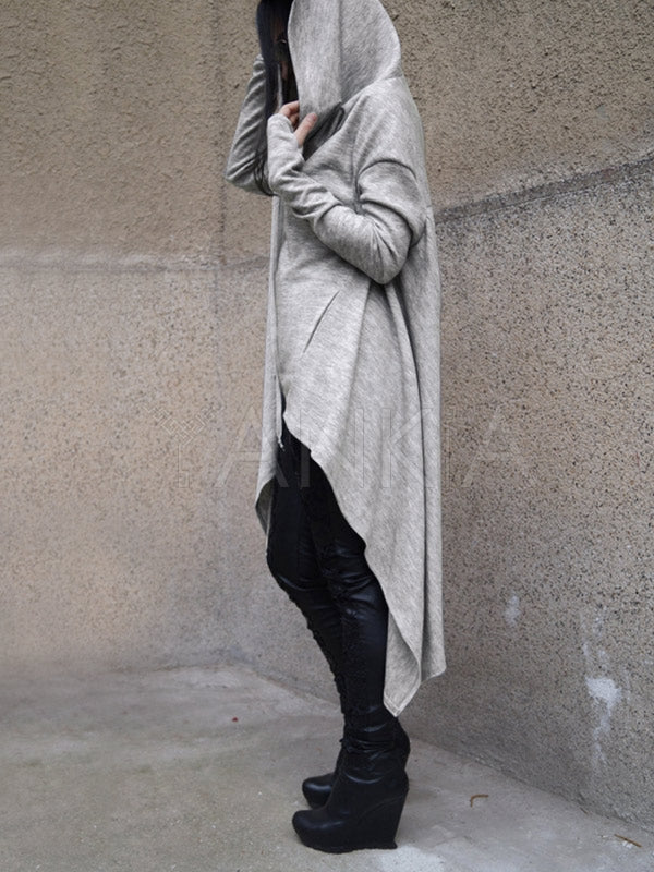 Gray High-low Split-joint Hoodies