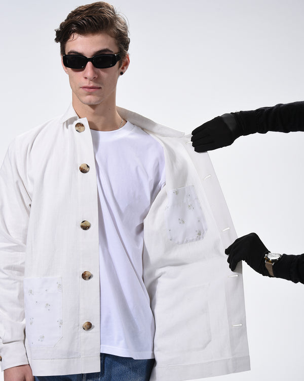 Upcycle tablecloth workwear jacket