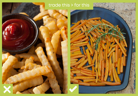 potato fries and carrot fries