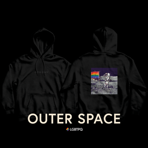 "Laden Sie das Bild in den Galerie-Viewer, OUTER SPACE ""black embroidered"" - Hoodie - LGBTPQ - Shop"