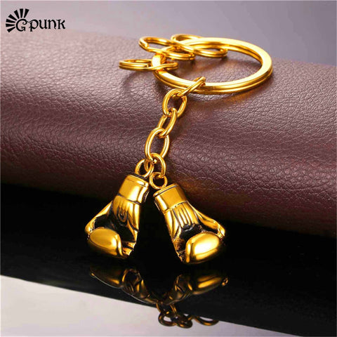 Gold Boxing Gloves Keychain
