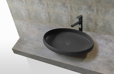 Hugi Stone Basin Oval Shaped Concrete Grey
