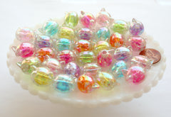 Kawaii Beads - 19mm AB Kitty Cat Bright Color Glitter Bead Chunky Acrylic or Plastic Beads - 20 pc set