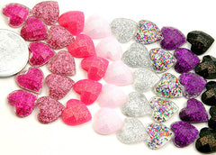 10mm Mini Heart Resin Cabochons - 25 pcs set
