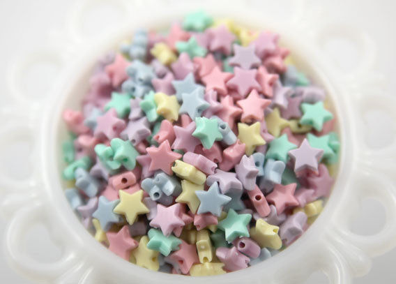 10mm Tiny Plastic Pastel Star Beads - 200 pcs set