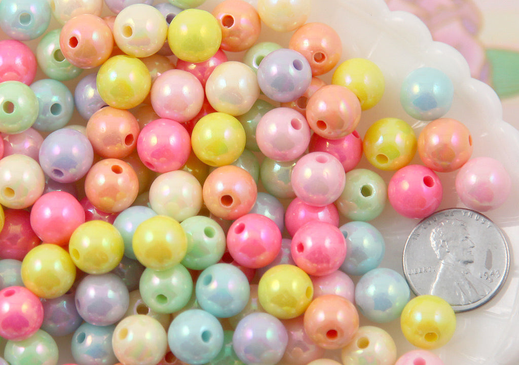10mm Ice Cream Pastel Colors Shiny AB Iridescent Small Round Shape Plastic or Acrylic Beads - 100 pcs set