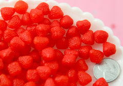 Fake Strawberries - 10mm Fake Strawberry Chunks Soft Squishy Silicone Berry Pieces or Resin Cabochons - 8 pc set