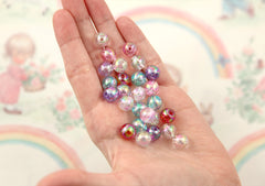 10mm Iridescent Pastel AB Mix Translucent Acrylic or Resin Beads - 100 pc set