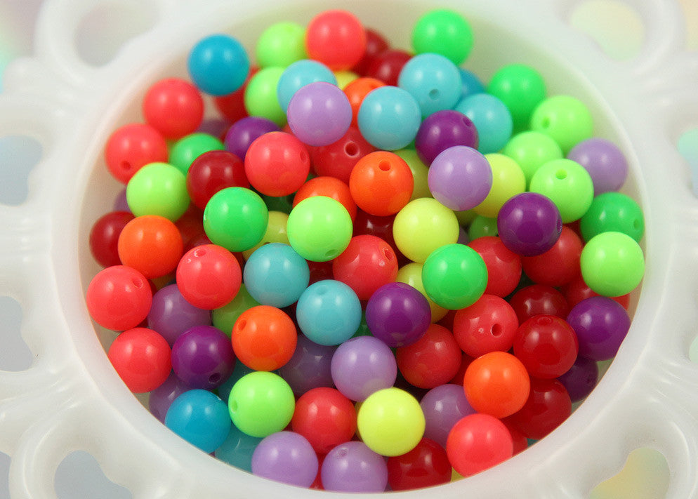 10mm New Bright Neon Gumball Bubblegum Resin Beads - 80 pc set