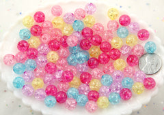 10mm Lovely Small Pastel Color Crackle Plastic or Acrylic or Resin Beads – 100 pc set