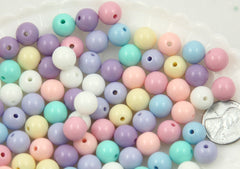 10mm Small Pastel Gumball Bubblegum Plastic Acrylic or Resin Beads – 100 pc set