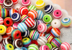 10mm Striped Resin Beads, mixed color, small size beads - 80 pcs set