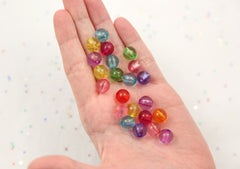 10mm Transparent Colorful Chunky Gumball Bubblegum Plastic Resin or Acrylic Beads - 100 pcs set
