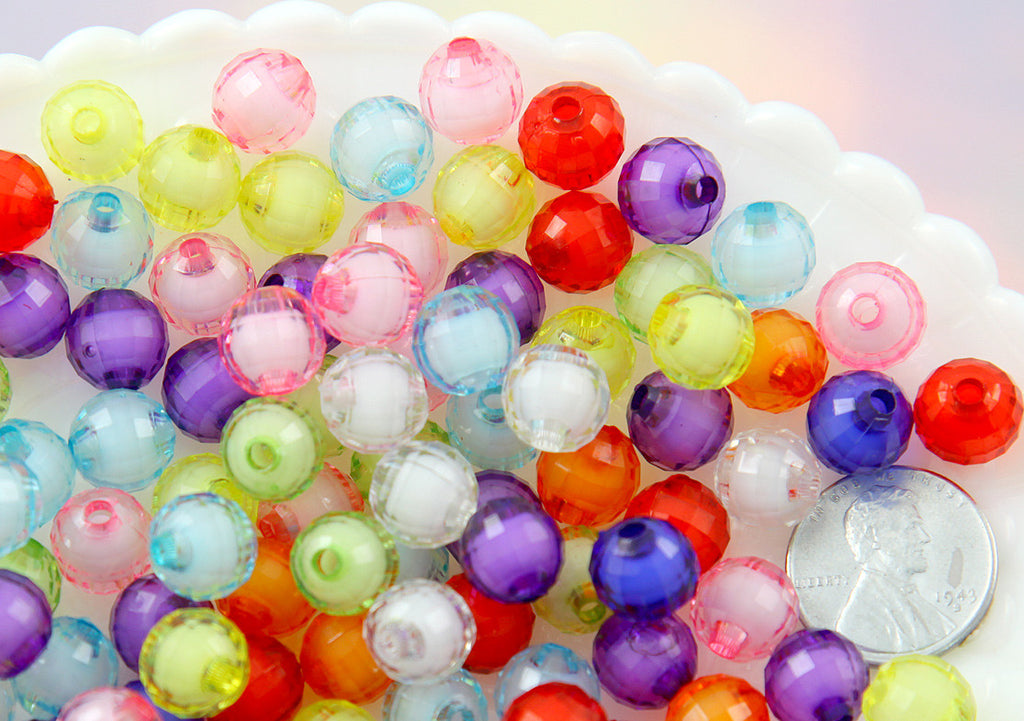 10mm Small Faceted Acrylic Beads - Colorful Double Inner Bead Round Resin Beads - Mixed Colors - 100 pc set