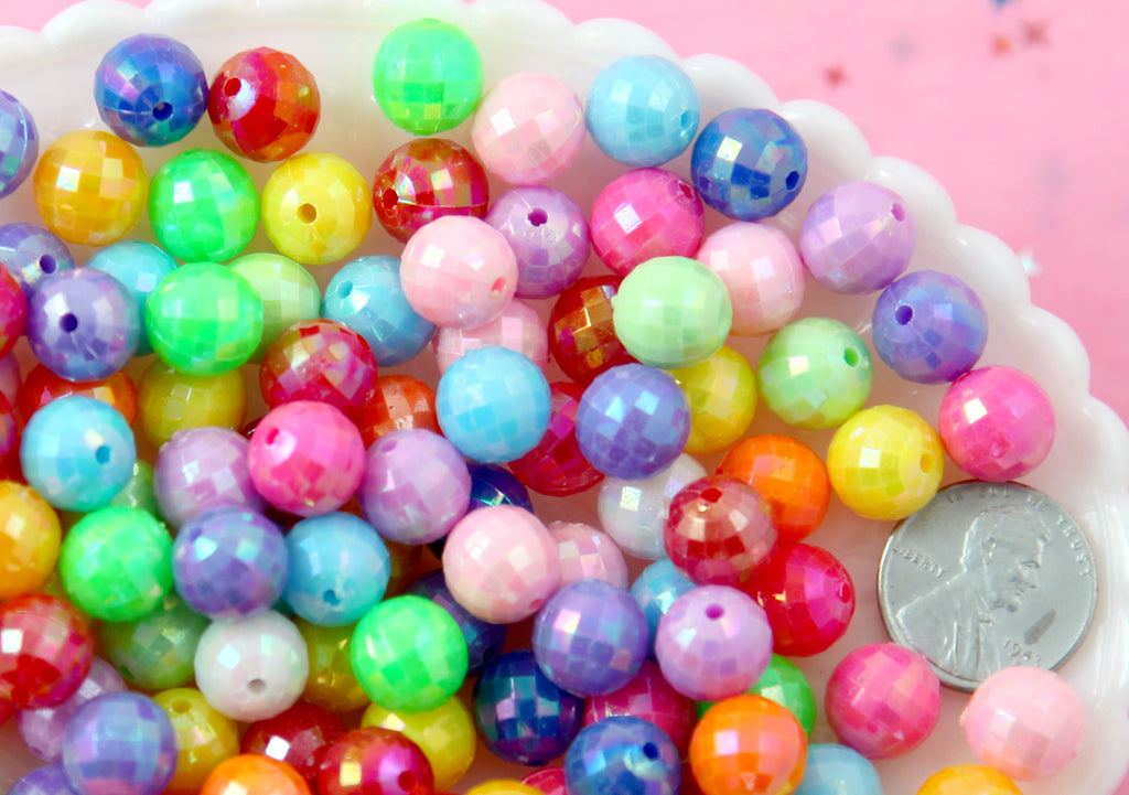 10mm Faceted Disco Ball AB Plated Shiny Resin or Acrylic Beads, mixed color, small size beads - 100 pc set