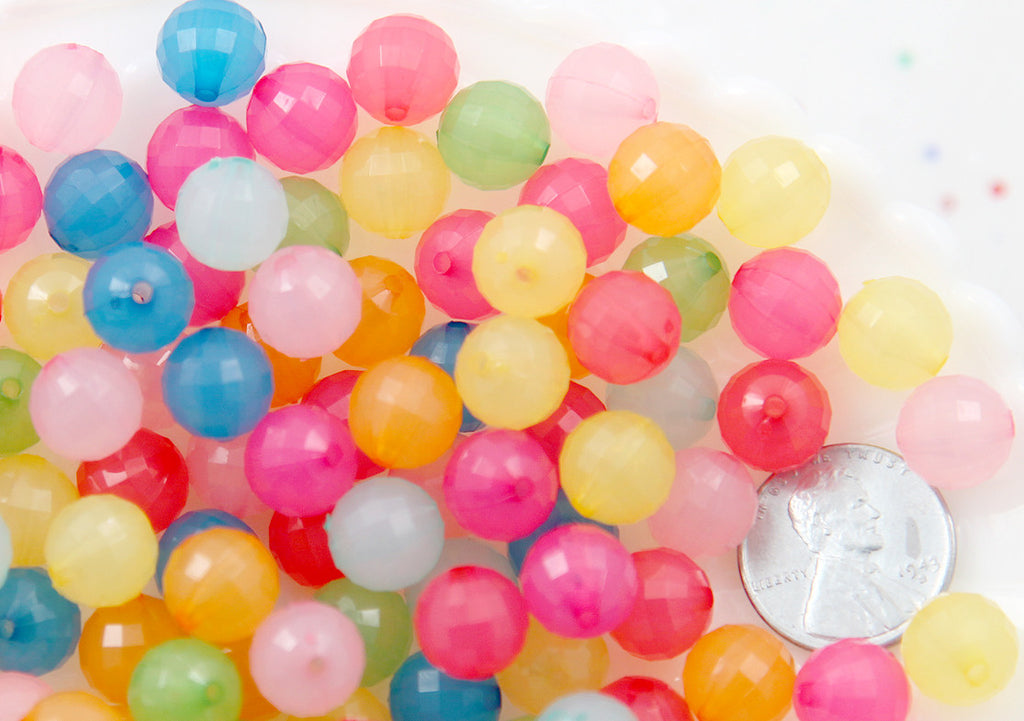 Kawaii Beads - 10mm Lovely Faceted Bright Color Jelly Acrylic or Resin Beads - 100 pc set