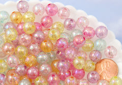 Glitter Beads - 10mm Pastel AB Transparent Glitter Acrylic or Plastic Beads - 100 pc set