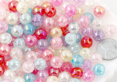 Pastel Beads - 10mm Crackle AB Iridescent Transparent Acrylic or Plastic Beads - 80 pc set