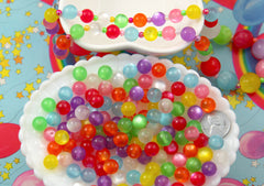 Kawaii Beads - 10mm Colorful Moonglow Pearly Acrylic or Resin Beads - 100 pc set