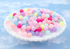 10mm Small Jelly Color Pastel Translucent Gumball Bubblegum Plastic Acrylic or Resin Beads – 100 pc set