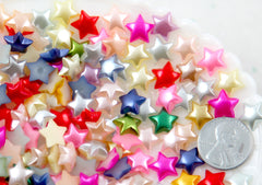 Star Cabochons - 10mm Pastel Star Pearl Mixed Flatback Resin or Acrylic Cabochons - 200 pc set