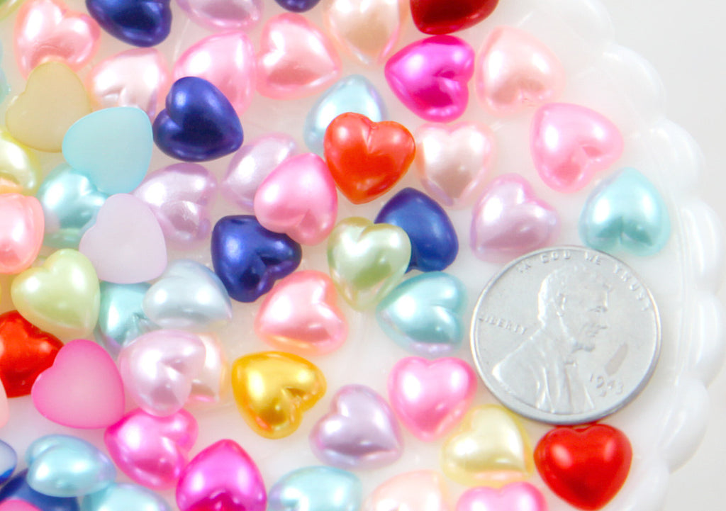 10mm Pastel Pearl Heart Plastic Flatback Resin Cabochons - 150 pc set