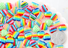 Rainbow Hearts - 10mm Tiny Striped Hearts Mixed Rainbow Acrylic or Resin Flatback Cabochons - 50 pc set