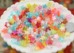 10mm Small AB Iridescent Plastic Acrylic or Resin Star Beads - 200 pc set