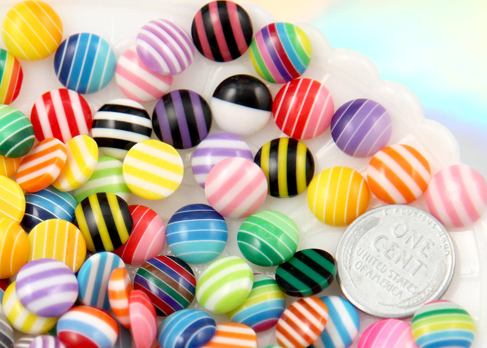 10mm Small Round Striped Mixed Flatback Acrylic or Resin Cabochons - 40 pc set