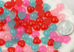 10mm Mini Jelly Heart Acrylic or Resin Flatback Cabochons - 25 pc set