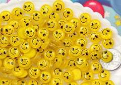 10mm Tiny Happy Face Round Flatback Acrylic or Resin Cabochons - 30 pc set