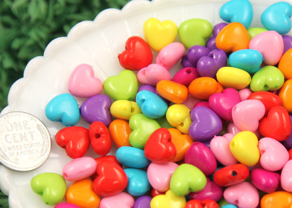 10mm Cute Puffy Hearts Resin or Acrylic Beads, mixed color, small size beads - 100 pc set