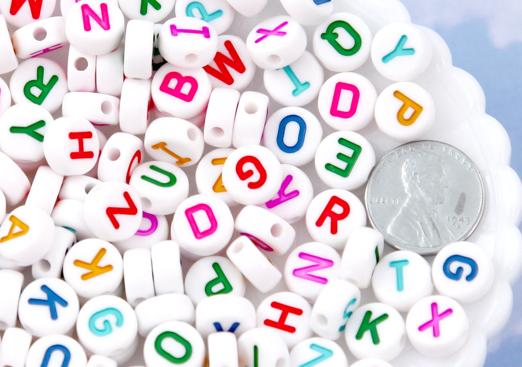Big Letter Beads - 10mm Large Round Colorful White Alphabet Acrylic or Resin Beads - 170 pc set
