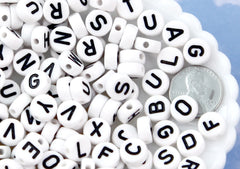 Big Letter Beads - 10mm Large Round White Alphabet Acrylic or Resin Beads - 170 pc set