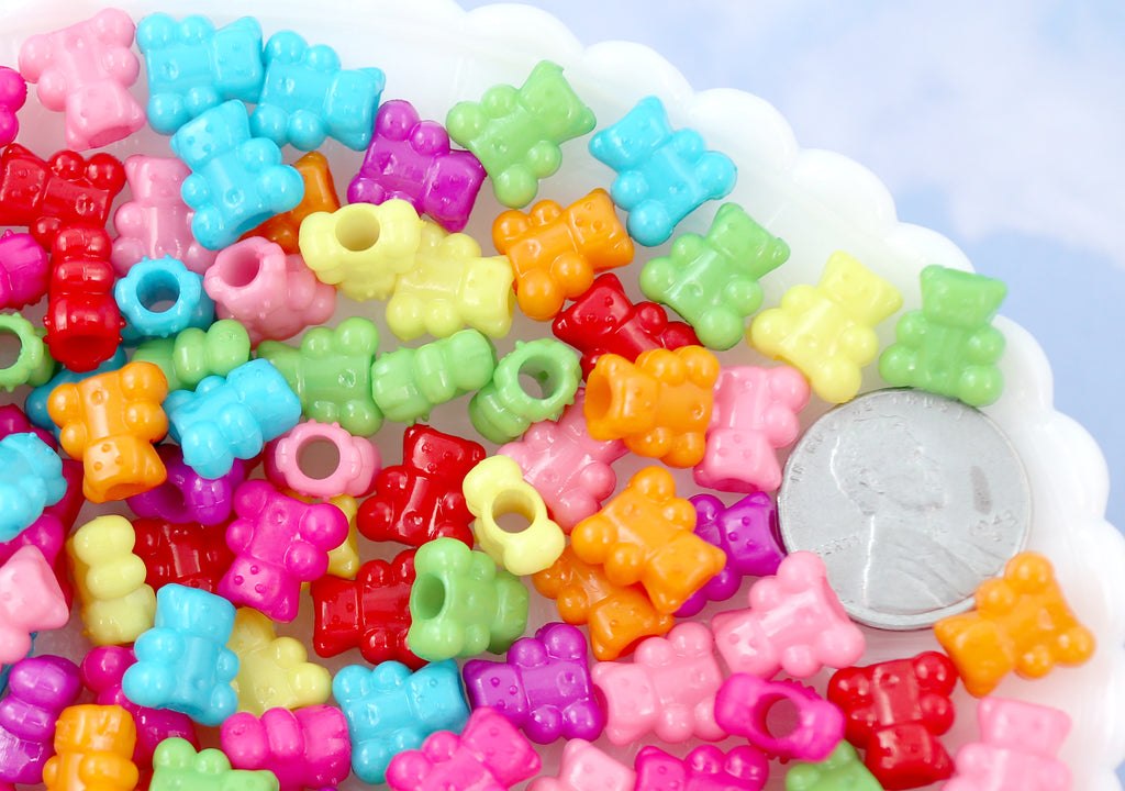 Kawaii Beads - 10mm Tiny Chunky Teddy Bear Bright Color Acrylic or Plastic Beads - 100 pc set
