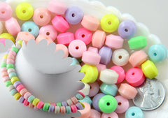 10mm Chunky Candy Color Rondelle Pastel Disc Shaped Faux Candies Acrylic or Plastic Beads - for Fake Candy Necklaces - 100 pc set
