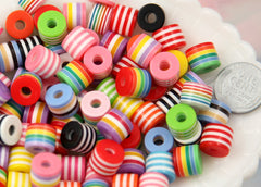 10mm Striped Roller Resin Beads, cylinder shape, mixed color, small size beads - 80 pc set