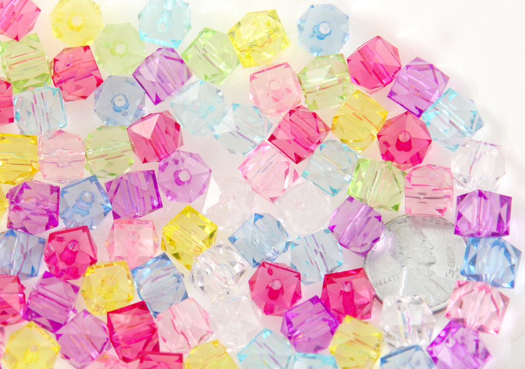 Cube Beads - 10mm Small Faceted Pastel Cube Acrylic Square Transparent Plastic Beads - 100 pc set