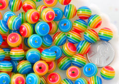 Rainbow Beads - 10mm Rainbow Striped Resin Beads, small size beads - 80 pc set
