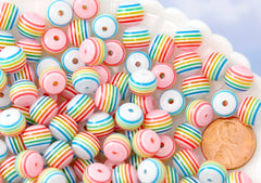 Rainbow Beads - 10mm White Rainbow Stripe Resin Beads, small size beads - 80 pc set