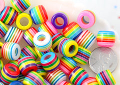 Large Hole Striped Beads - 12mm Rainbow Striped Resin Beads with Large Holes, mixed color, medium size beads - 65 pc set