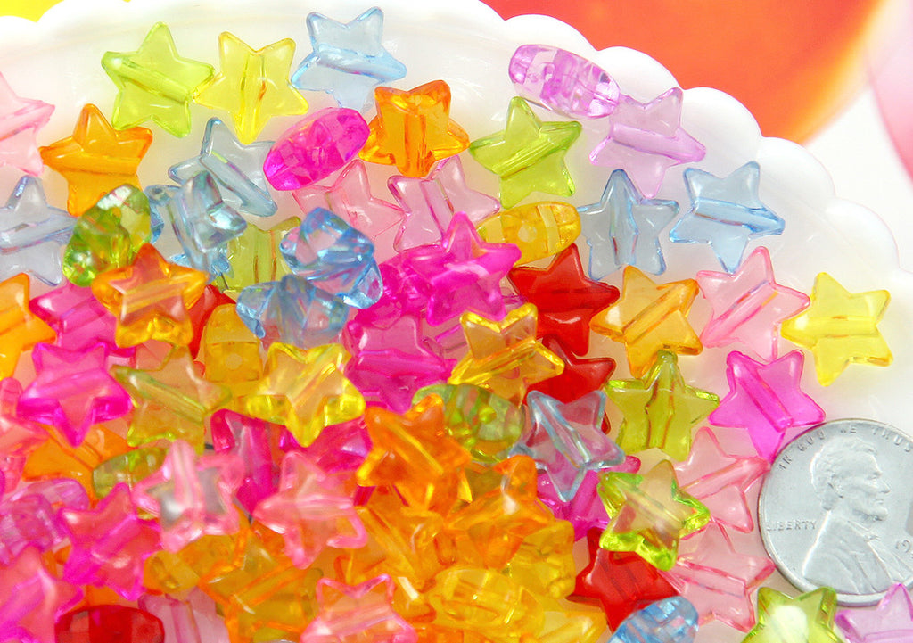 Star Beads - 12mm Small Transparent Puffy 3D Star Acrylic Beads - Colorful Rounded Tiny Plastic or Resin Stars Beads - 200 pcs set
