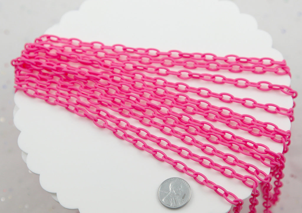 Plastic Chain - 10mm Rose Pink Matte Finish Acrylic or Plastic Chain - 19.5 inch length / 50 cm length - 3 pcs set