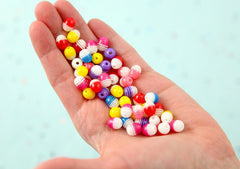 Resin Beads - 10mm Capsule Oval Shaped Translucent Stripes Colorful Resin Beads - 85 pc set