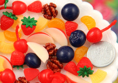 23mm Tiny Little Fruit Soft Squishy Silicone Fruits or Resin Cabochons - 8 pc set
